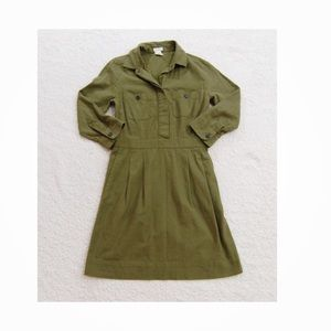 J crew army green dress size 00 fall holiday